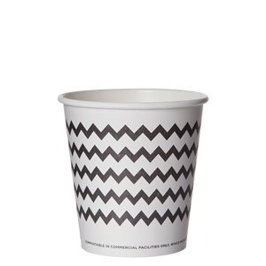 Compostable Hot Cup, Black Chevron