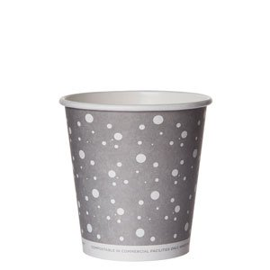 Compostable Hot Cup, Grey Dot