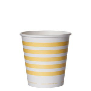 Compostable Hot Cup, Yellow Stripe