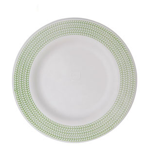 10in Sugarcane Plate, Green Print
