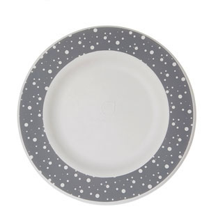 10in Sugarcane Plate, Grey Dot