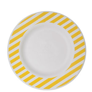 10in Sugarcane Plate, Yellow Stripe