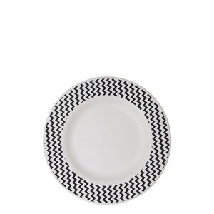 7.5in Sugarcane Plate, Black Chevron