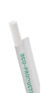 7.75in Compostable Straw, Wrapped, White, 5mm