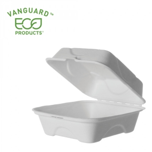 Vanguard™ Renewable & Compostable Sugarcane Clamshells - 6in x 6in x 3in