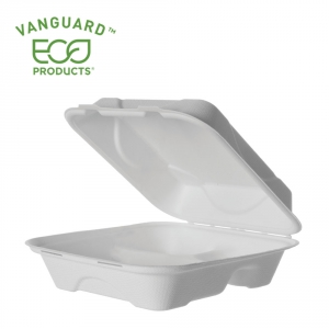 Vanguard™ Renewable & Compostable Sugarcane Clamshells - 8in x 8in x 3in, 3-Compartment