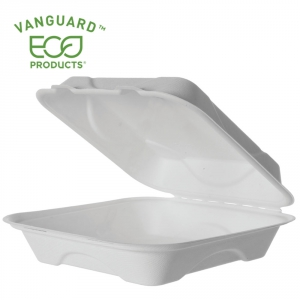 Vanguard™ Renewable & Compostable Sugarcane Clamshells - 9in x 9in x 3in