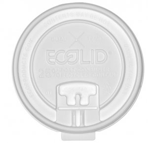 Ecolid® 25% Recycled Content Dual-Temp Locking Tab Lid with Straw Slot – 10-22oz