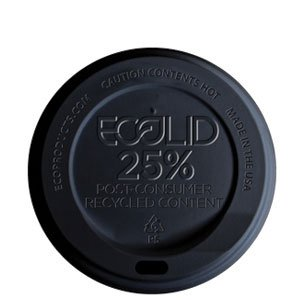 Large Black EcoLid® 25% Post-Consumer Recycled Content Hot Cup Lid