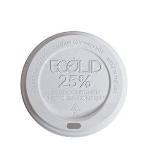 Small White EcoLid® 25% Post-Consumer Recycled Content Hot Cup Lid