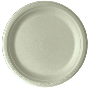 Compostable Round Sugarcane Plates, 9in, Natural