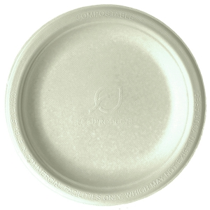 Compostable Round Sugarcane Plates, 6in, Natural