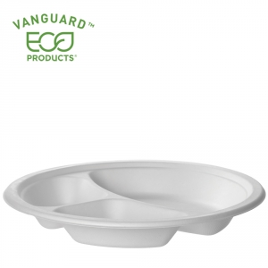 Vanguard™ Renewable & Compostable Sugarcane Plate - 10in 3-Compartment