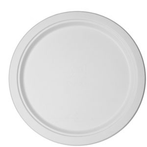 Compostable Round Sugarcane Plates, 12.5in, White