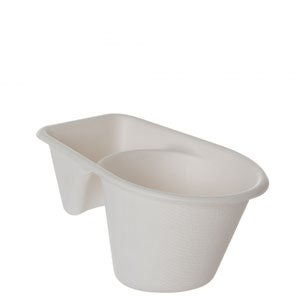 4in, 2-Cmpt Sugarcane Take-Out Cups - Renewable & Compostable