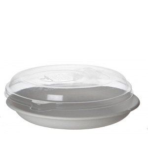 WorldView™ 100% Recycled Content Lid, Fits 9in Round Sugarcane Take-Out Containers