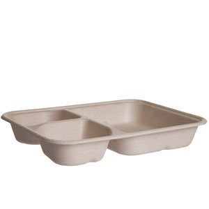 WorldView™ Renewable & Compostable 3-Cmpt Tray, 6x8in, Bamboo & Sugarcane