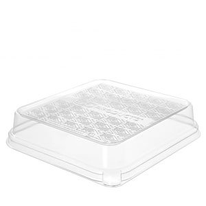 WorldView™ Renewable & Compostable 1.5in Dome Lid, Fits 7in 3-Compartment Sugarcane Base