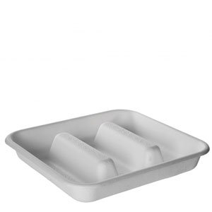 WorldView™ Renewable & Compostable Sugarcane Take-Out Container - 7in Square, 3-Compartment