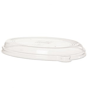 WorldView™ 100% Recycled Content Lid, Fits 24 and 32oz Oval Sugarcane Take-Out Containers