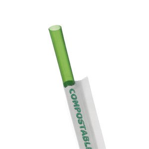 "7.75"" Green Wrapped Straw"