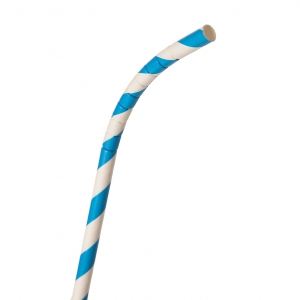 7.75in Striped Paper FLEX Straw, 50ct Retail Pack, Blue