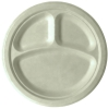 Compostable Round 3-compartment Sugarcane Plates, 10in, Natural
