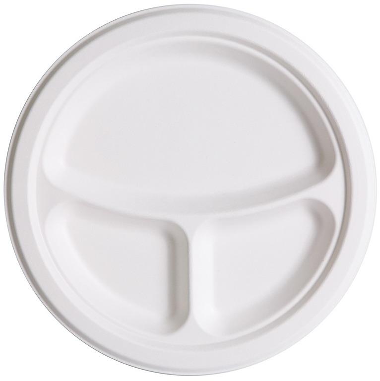 10 Inch 3 Compartment Sugarcane Plate